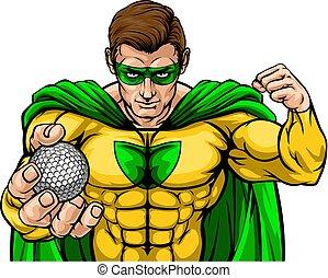 superhero, mascotte, sporten, bal, vasthouden, golf