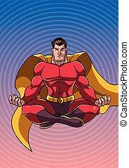 superhero, meditare, con, fondo