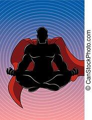 Superhero Meditating Background Silhouette