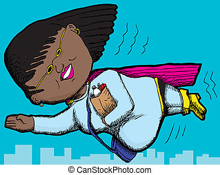 Superhero Mom - Pregnant Black woman with groceries flying...