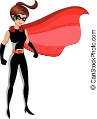 superhero, mujer estar de pie