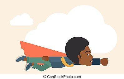 superhero, nero, uomo affari