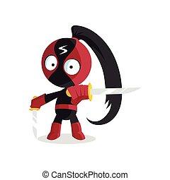 Superhero Ninja boy character with sword jumping cartoon vector Illustration