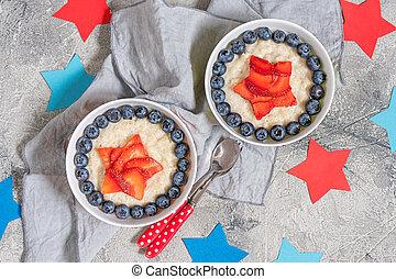 Superhero Oatmeal porridge for kids breakfast