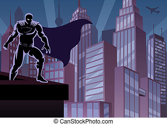 Superhero on Roof - Superhero watching over the city. No...