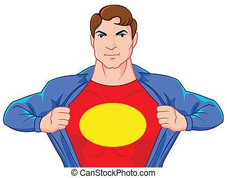 Superhero open his shirt