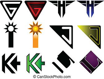 Superhero or athletics symbols g - - Set of 6 letters in...