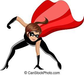 Superhero or super hero woman combat pose isolated on white