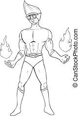 Superhero - Outline illustration of a superhero