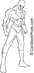 Superhero - Outline illustration of a superhero in a mask