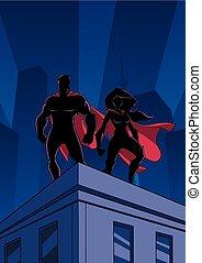 superhero, pareja, techo, reloj, siluetas
