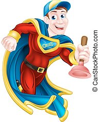 Superhero Plunger Man - Illustration of a janitor or plumber...