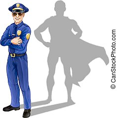 Superhero policeman - Hero policeman concept. A conceptual...