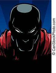 Silhouette ilustration of the portrait of powerful superhero looking at camera with tough facial expression.