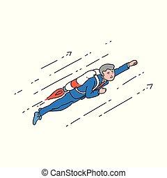 superhero, pose., jetpack, volare, su, uomo affari, cartone animato