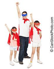 superhero, pose, père, filles, cap, confection, rouges