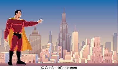superhero, potere, in, città