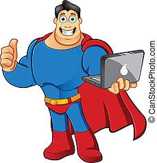 superhero, pouce, &, ordinateur portable, -, haut