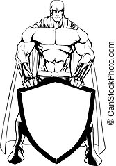 superhero, presa a terra, scudo, art linea