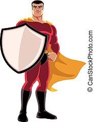 superhero, presa a terra, scudo