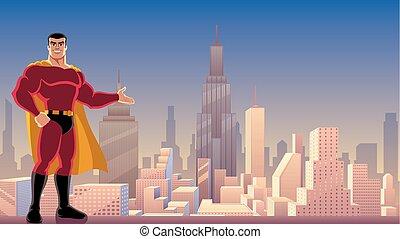 superhero, presentare, in, città