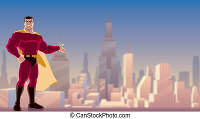Superhero Presenting in City - Animation of smiling...