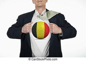 Superhero pulling Open Shirt with soccer ball - Belgium