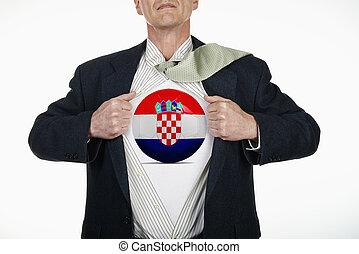 Superhero pulling Open Shirt with soccer ball - Croatia