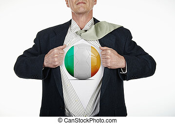 Superhero pulling Open Shirt with soccer ball - Ireland