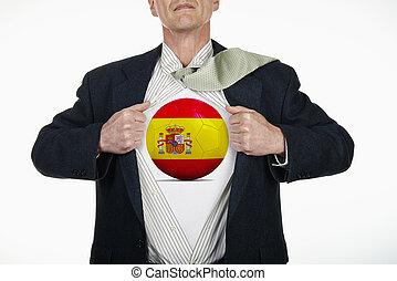 Superhero pulling Open Shirt with soccer ball - Spain
