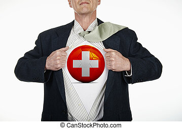 Superhero pulling Open Shirt with soccer ball - Switzerland