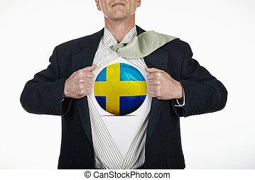 Superhero pulling Open Shirt with soccer ball - Sweden