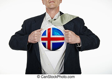 Superhero pulling Open Shirt with soccer ball - Iceland