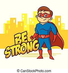 superhero, ragazzo, cartone animato, carattere