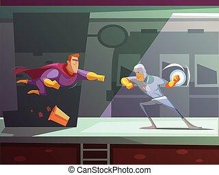 Superhero Retro Cartoon Illustration