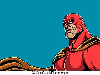 superhero, ritratto, rosso