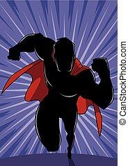 Superhero Running Abstract Background Silhouette