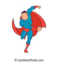 Superhero running icon, cartoon style