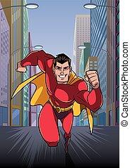 Superhero Running in City