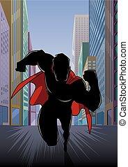 Superhero Running in City Silhouette