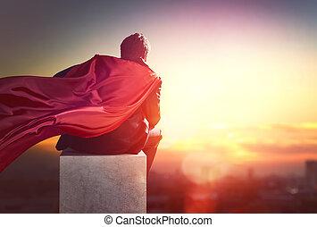 superhero, schauen, stadt, geschäftsmann
