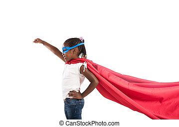 superhero, semelhante, actos, criança, mundo, salvar