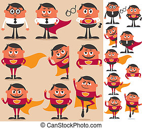 Businessman who is actually superhero in disguise. 9 different poses. On the right is the same character adapted for white background.