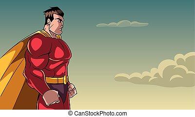 Superhero Side Profile Sky Background