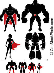 Superhero Silhouette - 4 different superhero silhouettes in...