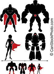 Superhero Silhouette - 4 different superhero silhouettes in...