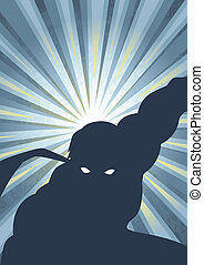 Superhero - Silhouette illustration of a masked superhero