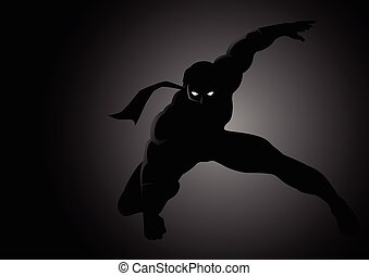 Superhero - Silhouette illustration of a masked superhero