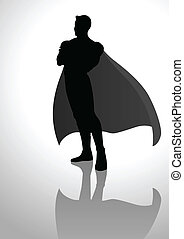 Superhero - Silhouette illustration of a posing superhero