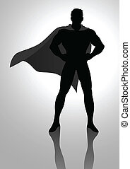 Superhero - Silhouette illustration of a superhero posing
